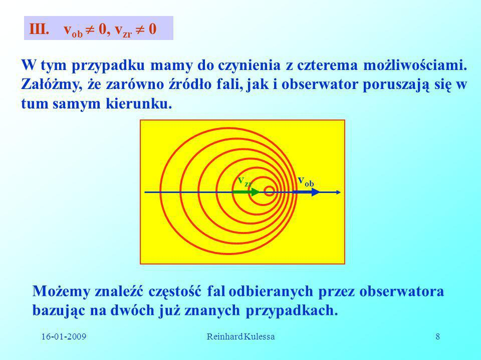 16-01-2009Reinhard Kulessa8 III. v ob 0, v zr 0 W tym przypadku mamy do czynienia z czterema możliwościami. Załóżmy, że zarówno źródło fali, jak i obs