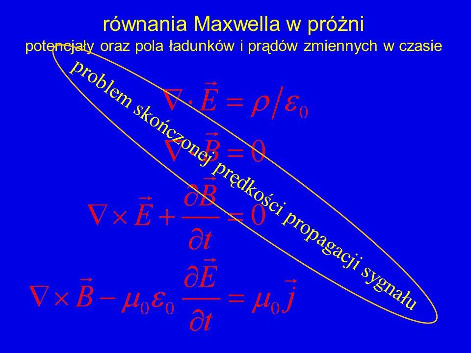 równania Maxwella w próżni potencjały oraz pola ładunków i prądów zmiennych w czasie problem skończonej prędkości propagacji sygnału