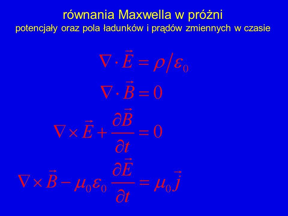 równania Maxwella w próżni potencjały oraz pola ładunków i prądów zmiennych w czasie