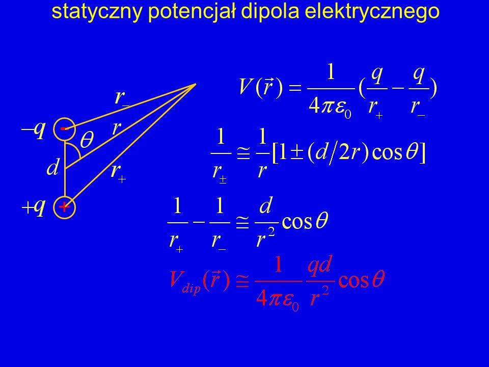 + - statyczny potencjał dipola elektrycznego