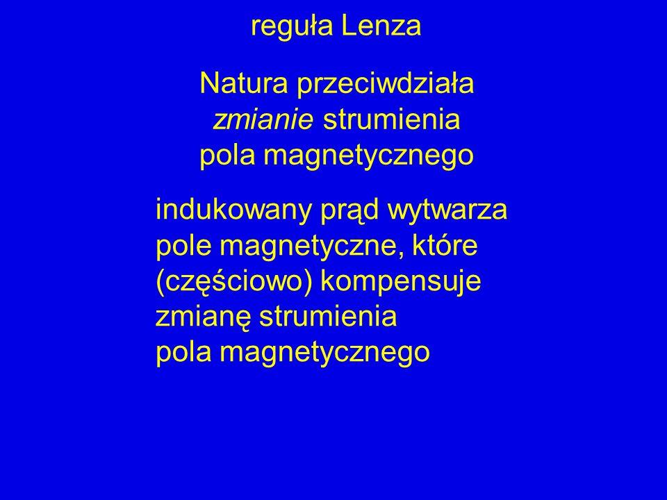 reguła Lenza Natura przeciwdziała zmianie strumienia pola magnetycznego indukowany prąd wytwarza pole magnetyczne, które (częściowo) kompensuje zmianę