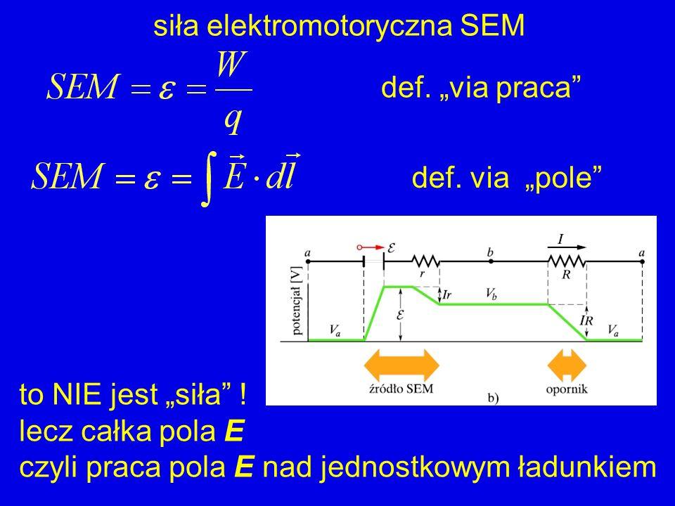siła elektromotoryczna SEM def. via praca def. via pole to NIE jest siła ! lecz całka pola E czyli praca pola E nad jednostkowym ładunkiem