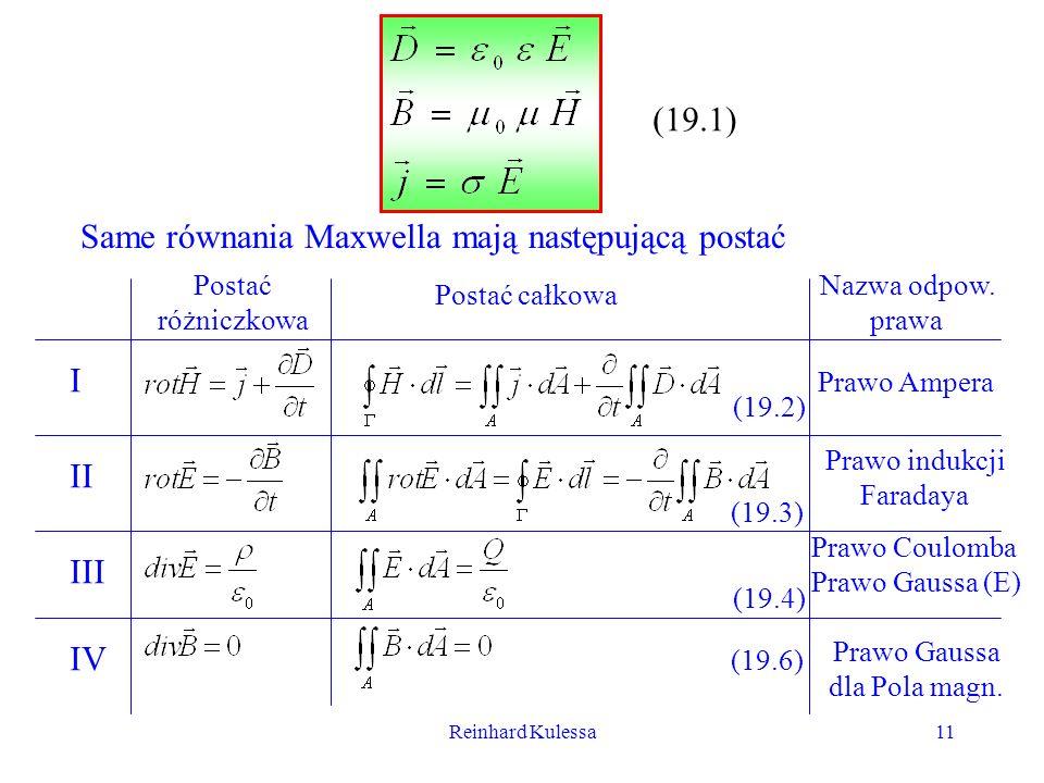 Reinhard Kulessa11 (19.1) Same równania Maxwella mają następującą postać Postać różniczkowa Postać całkowa Nazwa odpow. prawa I II III IV Prawo Ampera