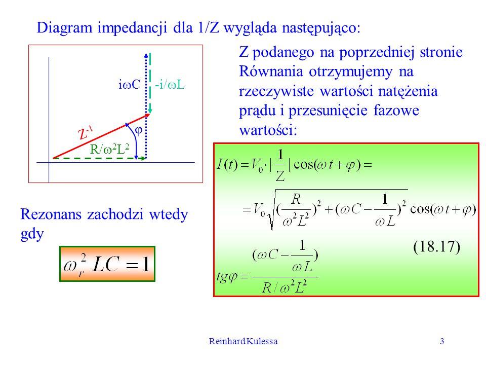 Reinhard Kulessa3 Diagram impedancji dla 1/Z wygląda następująco: R/ 2 L 2 -i/ Li C Z -1 Z podanego na poprzedniej stronie Równania otrzymujemy na rze