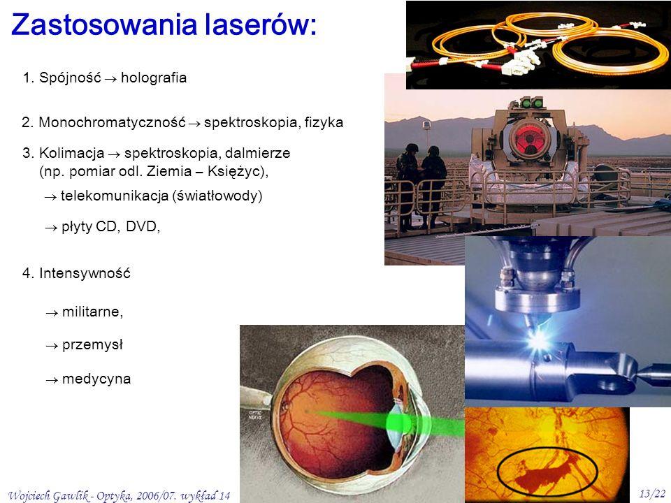 Wojciech Gawlik - Optyka, 2006/07. wykład 14 13/22 Zastosowania laserów: 1.
