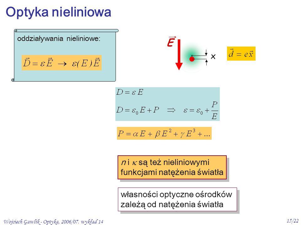 Wojciech Gawlik - Optyka, 2006/07.wykład 14 16/22 1.