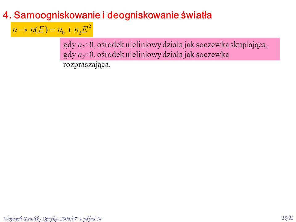 Wojciech Gawlik - Optyka, 2006/07. wykład 14 18/22 4.