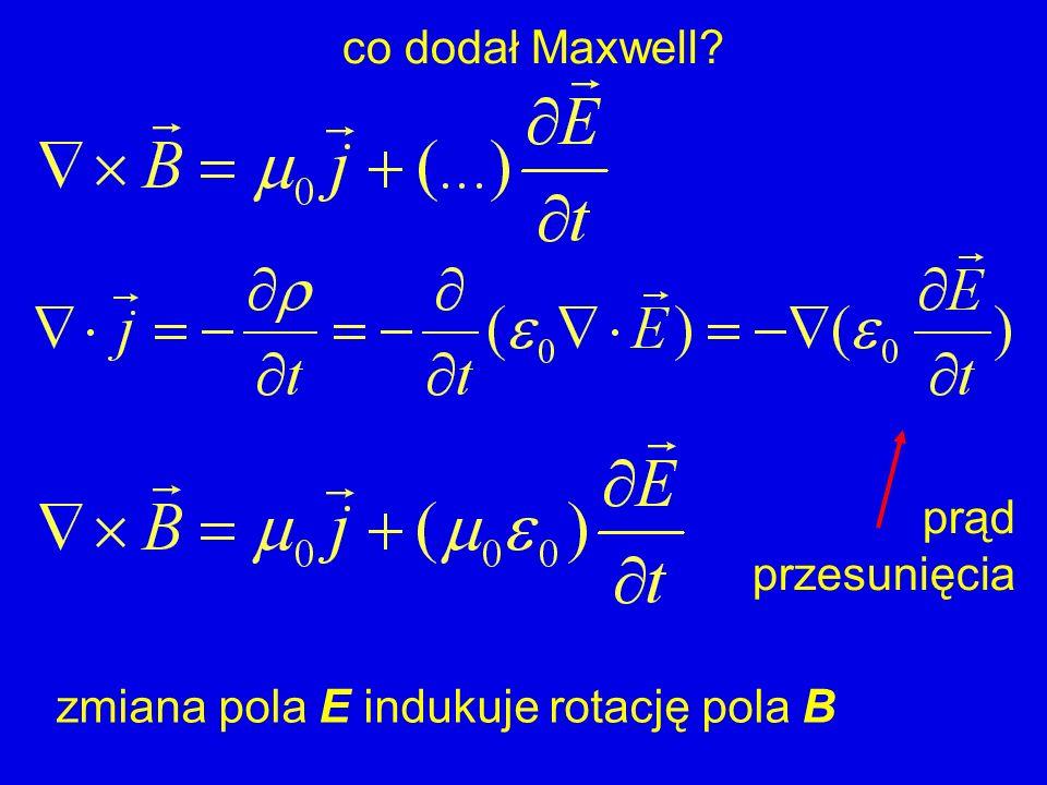 co dodał Maxwell? zmiana pola E indukuje rotację pola B prąd przesunięcia