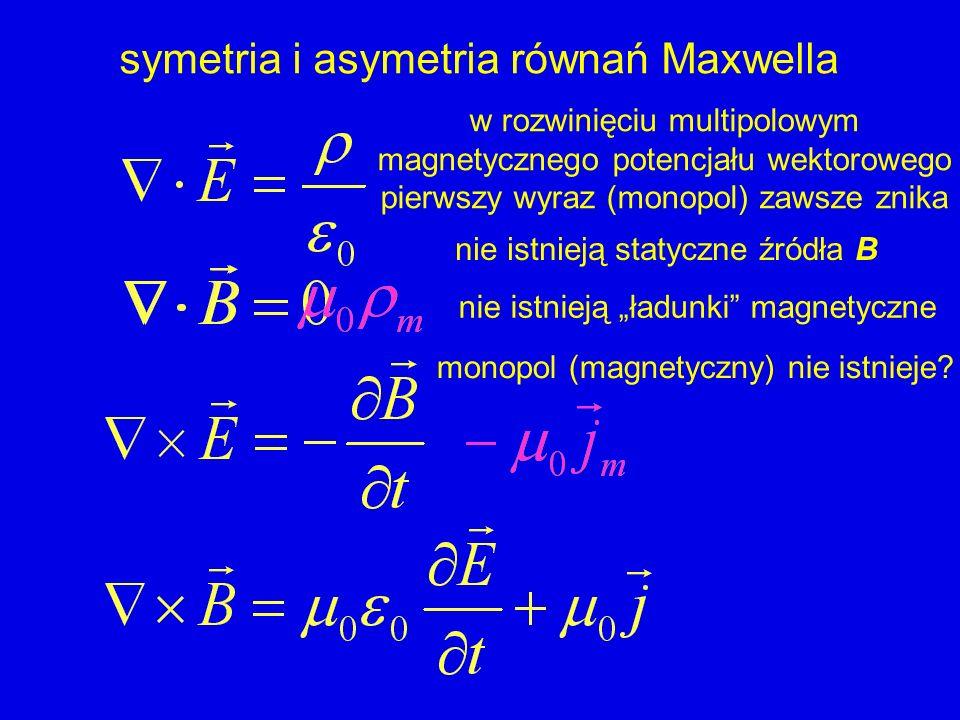 symetria i asymetria równań Maxwella nie istnieją ładunki magnetyczne nie istnieją statyczne źródła B w rozwinięciu multipolowym magnetycznego potencj