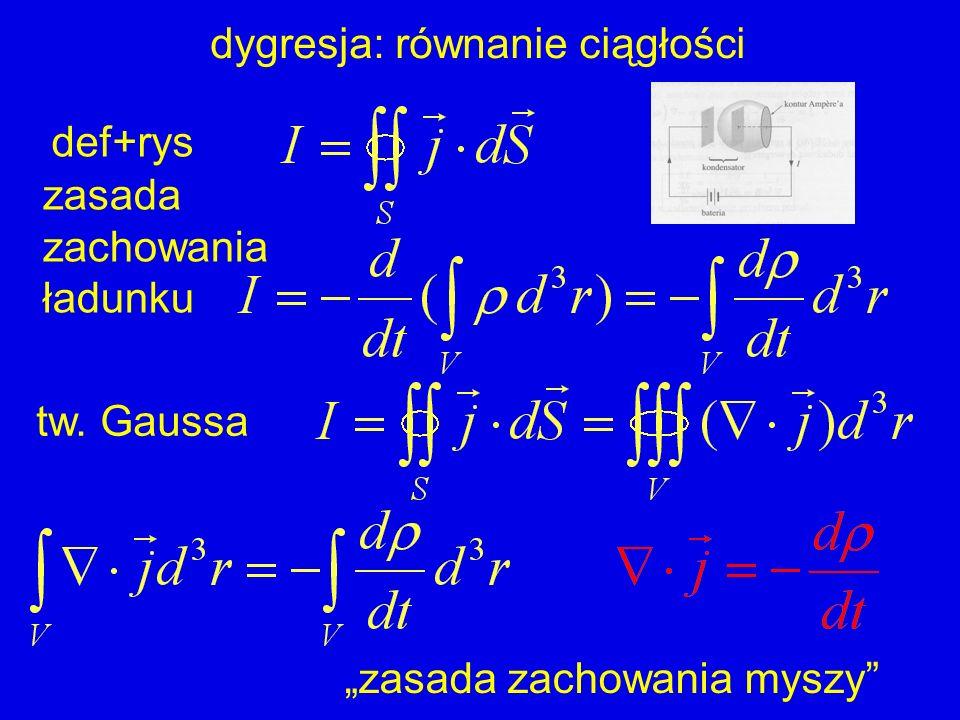 dygresja: równanie ciągłości zasada zachowania ładunku def+rys zasada zachowania myszy tw. Gaussa