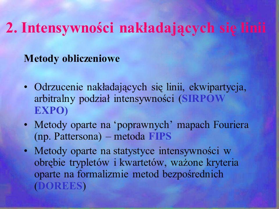2. Intensywności nakładających się linii Metody obliczeniowe Odrzucenie nakładających się linii, ekwipartycja, arbitralny podział intensywności (SIRPO