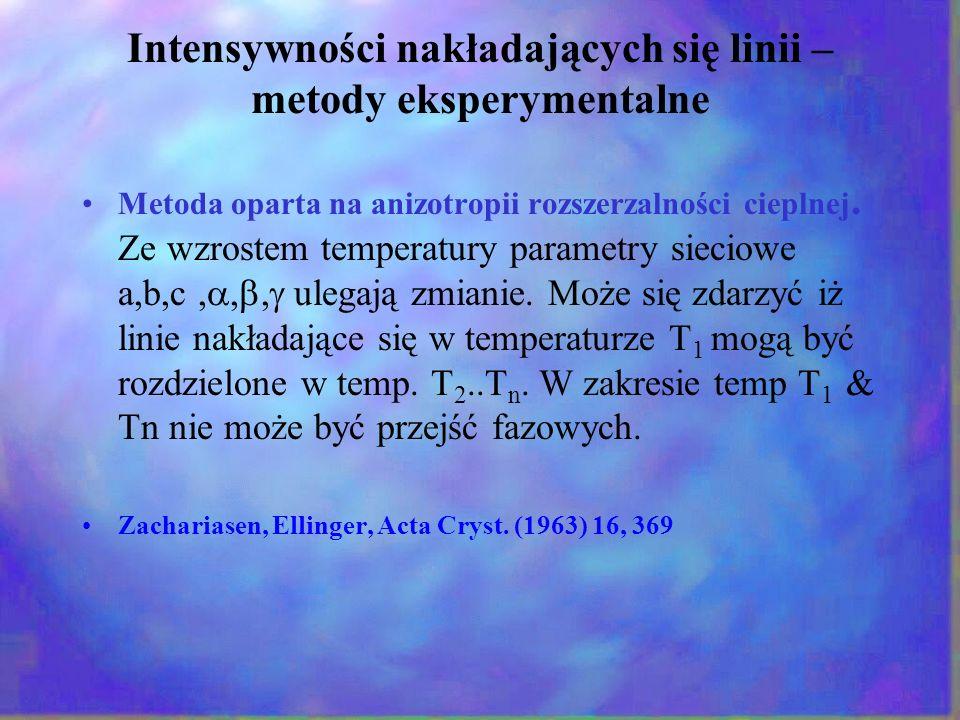 Intensywności nakładających się linii – metody eksperymentalne Metoda oparta na anizotropii rozszerzalności cieplnej. Ze wzrostem temperatury parametr