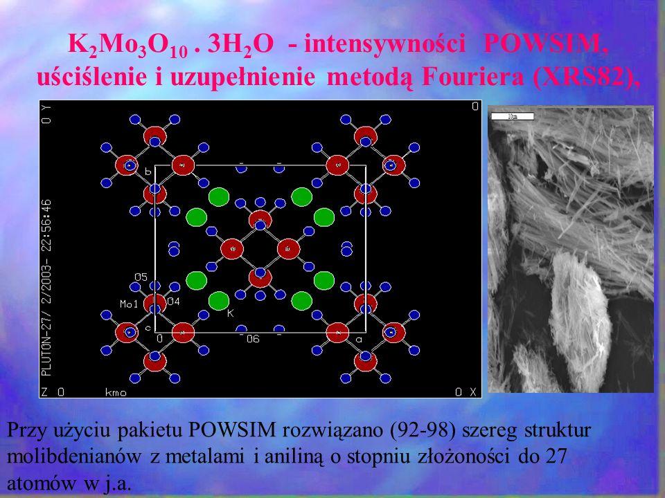 K 2 Mo 3 O 10. 3H 2 O - intensywności POWSIM, uściślenie i uzupełnienie metodą Fouriera (XRS82), Przy użyciu pakietu POWSIM rozwiązano (92-98) szereg