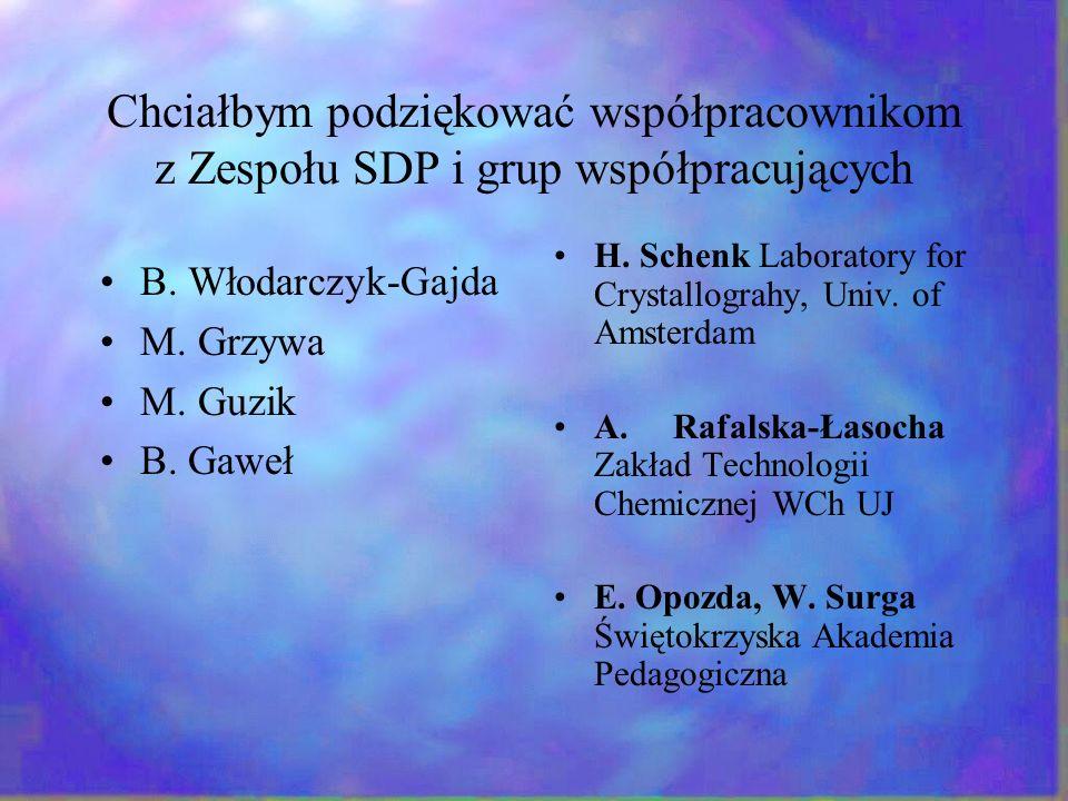 Chciałbym podziękować współpracownikom z Zespołu SDP i grup współpracujących B. Włodarczyk-Gajda M. Grzywa M. Guzik B. Gaweł H. Schenk Laboratory for
