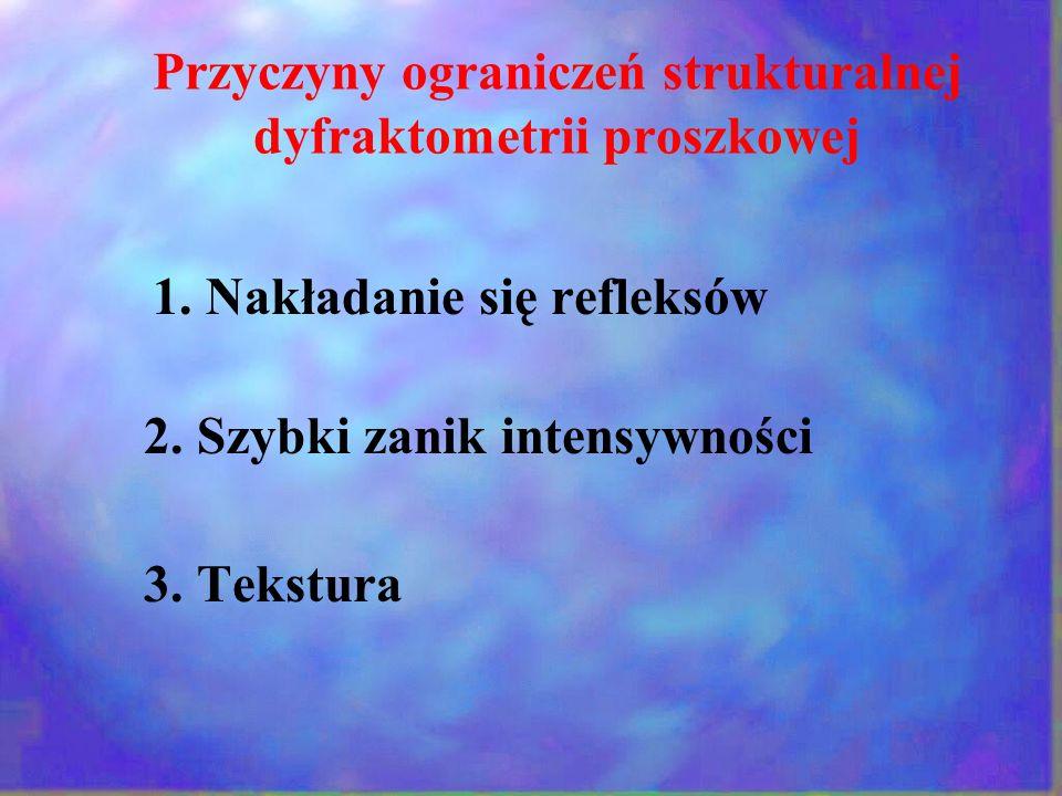 Przyczyny ograniczeń strukturalnej dyfraktometrii proszkowej 1. Nakładanie się refleksów 2. Szybki zanik intensywności 3. Tekstura