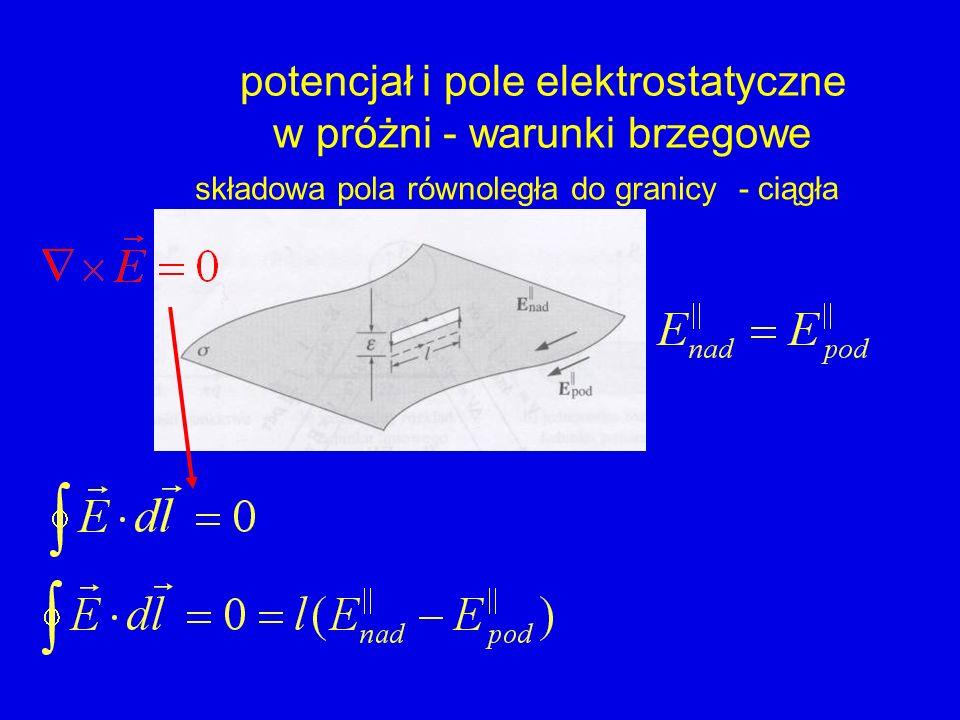 potencjał i pole elektrostatyczne w próżni - warunki brzegowe - ciągła składowa pola równoległa do granicy