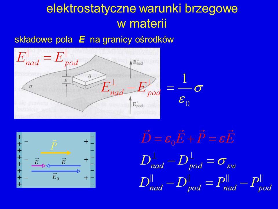 elektrostatyczne warunki brzegowe w materii składowe pola E na granicy ośrodków