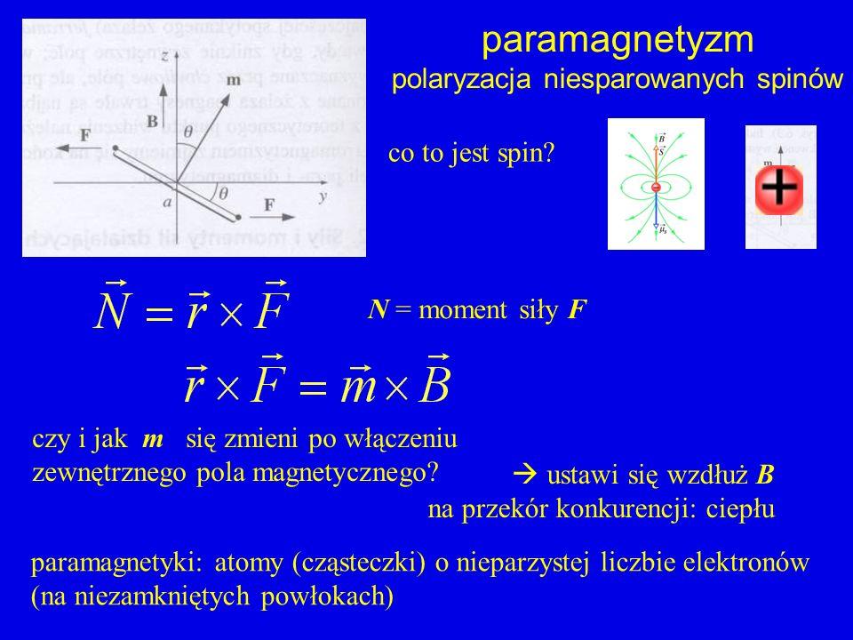 paramagnetyzm polaryzacja niesparowanych spinów czy i jak m się zmieni po włączeniu zewnętrznego pola magnetycznego? co to jest spin? paramagnetyki: a