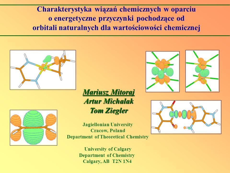 Charakterystyka wiązań chemicznych w oparciu o energetyczne przyczynki pochodzące od orbitali naturalnych dla wartościowości chemicznej Mariusz Mitora
