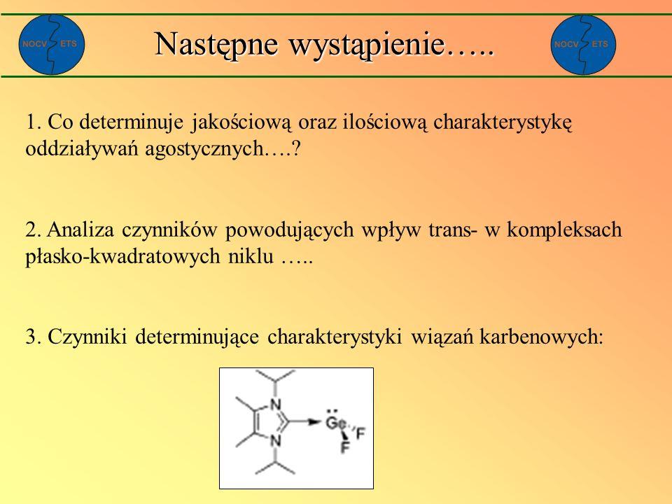 Następne wystąpienie….. 1. Co determinuje jakościową oraz ilościową charakterystykę oddziaływań agostycznych….? 2. Analiza czynników powodujących wpły