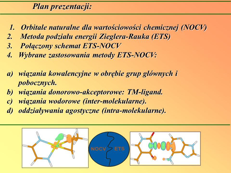 Plan prezentacji: 1.Orbitale naturalne dla wartościowości chemicznej (NOCV) 2. Metoda podziału energii Zieglera-Rauka (ETS) 3. Połączony schemat ETS-N