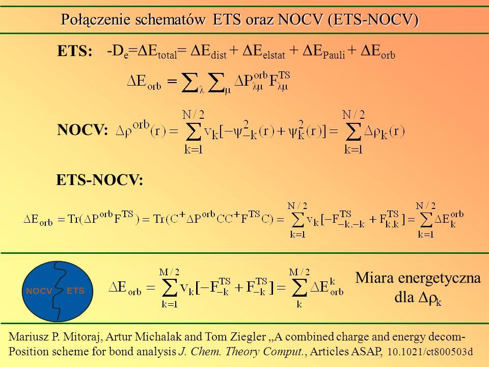 -D e = E total = E dist + E elstat + E Pauli + E orb ETS: Miara energetyczna dla k Połączenie schematów ETS oraz NOCV (ETS-NOCV) NOCV: ETS-NOCV: Mariu