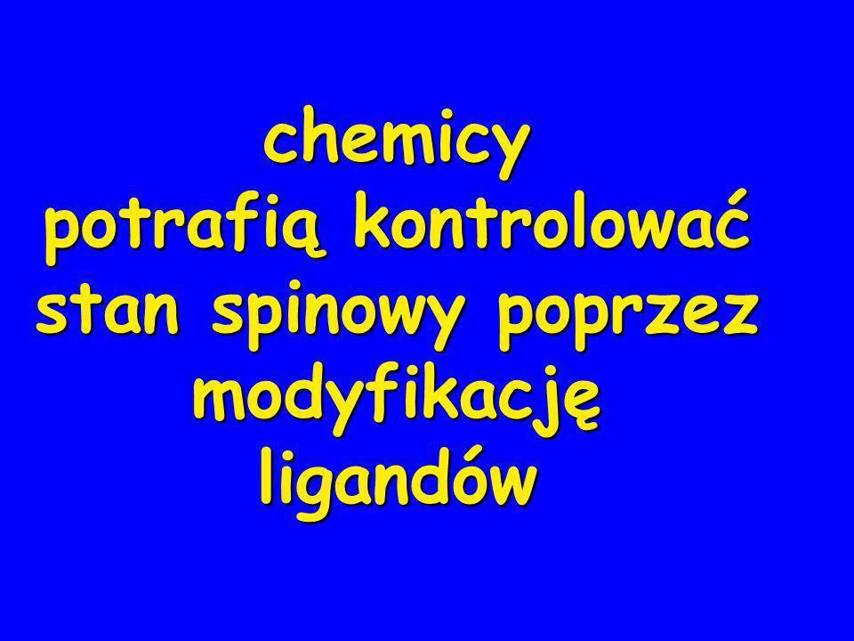 chemicy potrafią kontrolować stan spinowy poprzez modyfikacjęligandów