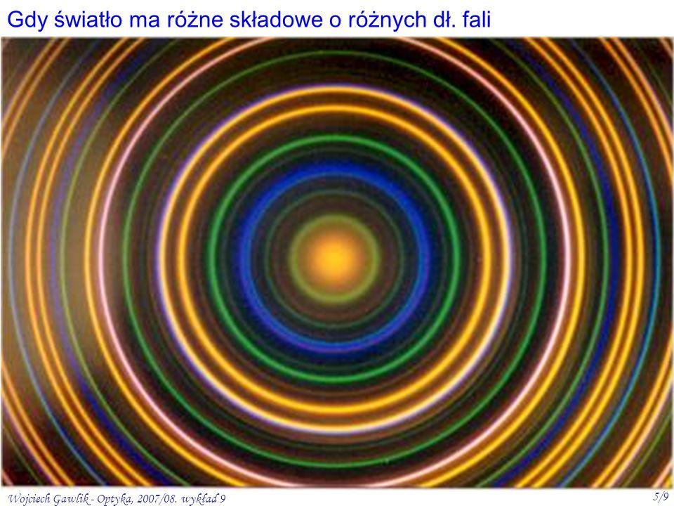 Wojciech Gawlik - Optyka, 2007/08. wykład 9 5/9 Gdy światło ma różne składowe o różnych dł. fali