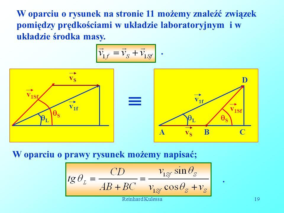 Reinhard Kulessa19 W oparciu o rysunek na stronie 11 możemy znaleźć związek pomiędzy prędkościami w układzie laboratoryjnym i w układzie środka masy..