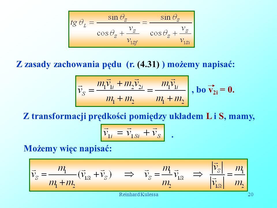 Reinhard Kulessa20 Z zasady zachowania pędu (r. (4.31) ) możemy napisać:, bo v 2i = 0.