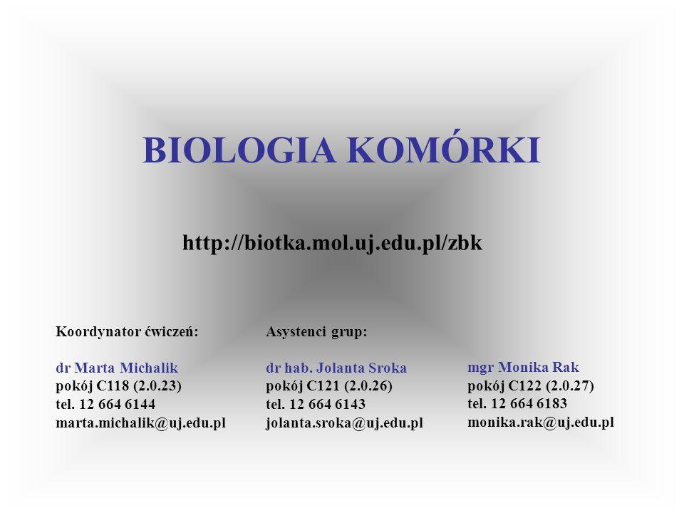 BIOLOGIA KOMÓRKI Ćwiczenia - zasady zaliczenia: uczestniczenie w zajęciach (dopuszczana 1 nieobecność usprawiedliwiona) przygotowywanie się na ćwiczenia (sprawdzanie wiadomości - oceny cząstkowe) kolokwium zaliczeniowe (test) Charakterystyka kursu: 30 godzin wykładów 60 godzin ćwiczeń Prowadzący: wykłady: prof.