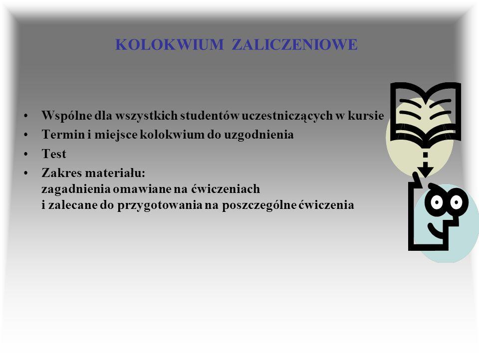 KOLOKWIUM ZALICZENIOWE Wspólne dla wszystkich studentów uczestniczących w kursie Termin i miejsce kolokwium do uzgodnienia Test Zakres materiału: zaga