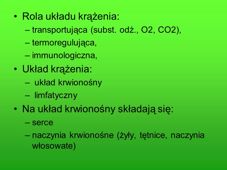 Krzepnięcie krwi Grupy krwi Układ limfatyczny- budowa i funkcje Choroby układu krążenia Odporność człowieka
