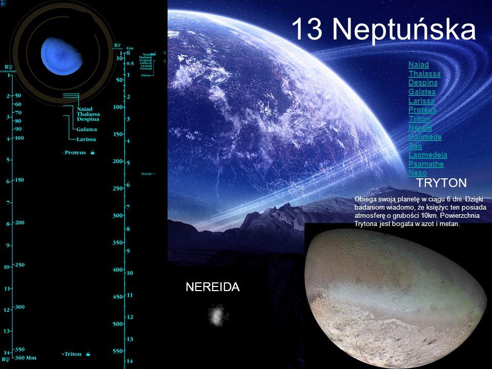 13 Neptuńska TRYTON Obiega swoją planetę w ciągu 6 dni. Dzięki badaniom wiadomo, że księżyc ten posiada atmosferę o grubości 10km. Powierzchnia Tryton