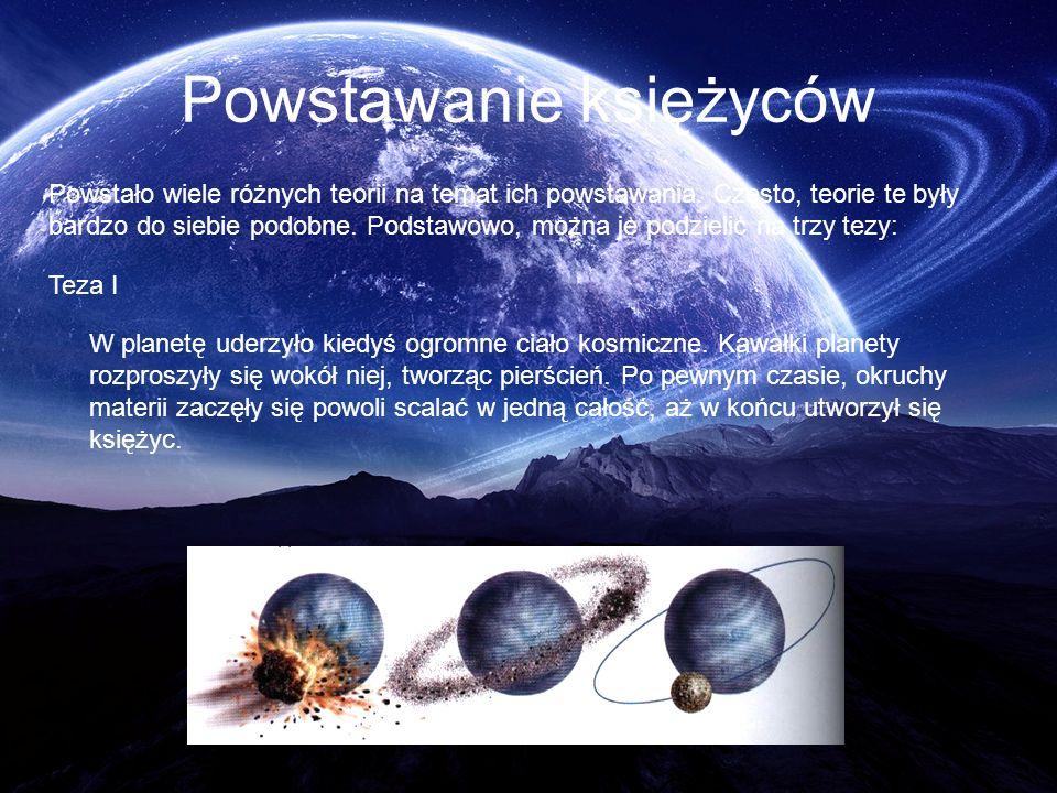 Powstawanie księżyców Powstało wiele różnych teorii na temat ich powstawania. Często, teorie te były bardzo do siebie podobne. Podstawowo, można je po