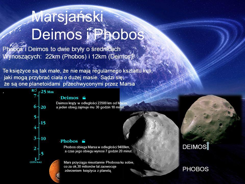 Marsjański Deimos i Phobos Phobos i Deimos to dwie bryły o średnicach Wynoszących: 22km (Phobos) i 12km (Deimos). Te księżyce są tak małe, że nie mają