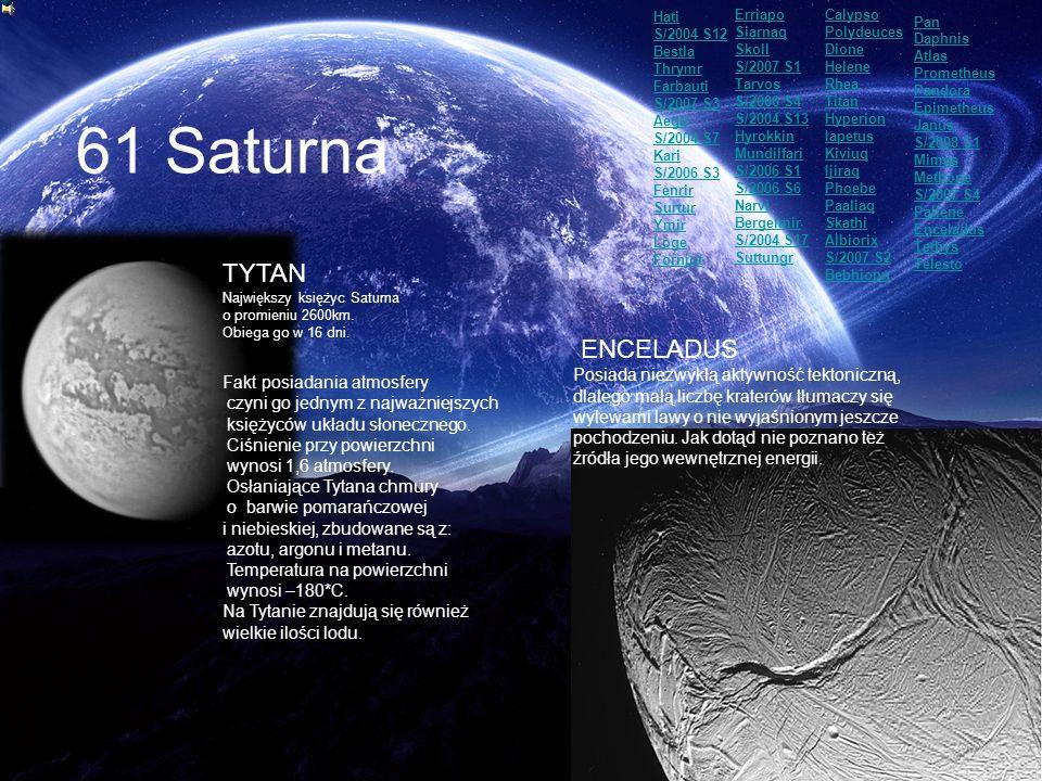 61 Saturna TYTAN Największy księżyc Saturna o promieniu 2600km. Obiega go w 16 dni. Fakt posiadania atmosfery czyni go jednym z najważniejszych księży