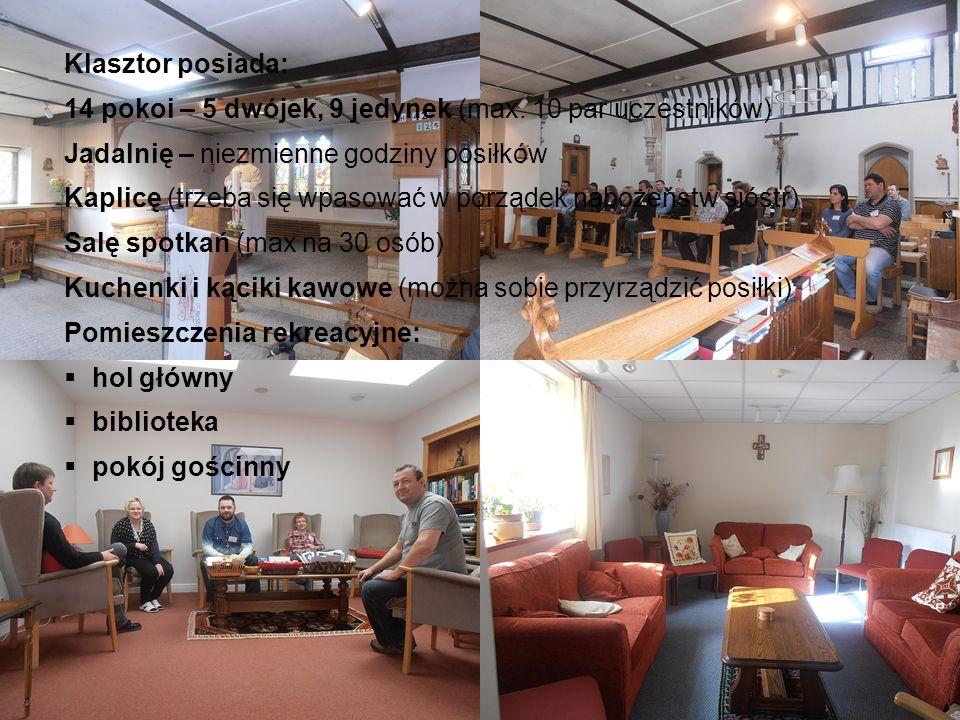 Klasztor posiada: 14 pokoi – 5 dwójek, 9 jedynek (max. 10 par uczestników) Jadalnię – niezmienne godziny posiłków Kaplicę (trzeba się wpasować w porzą