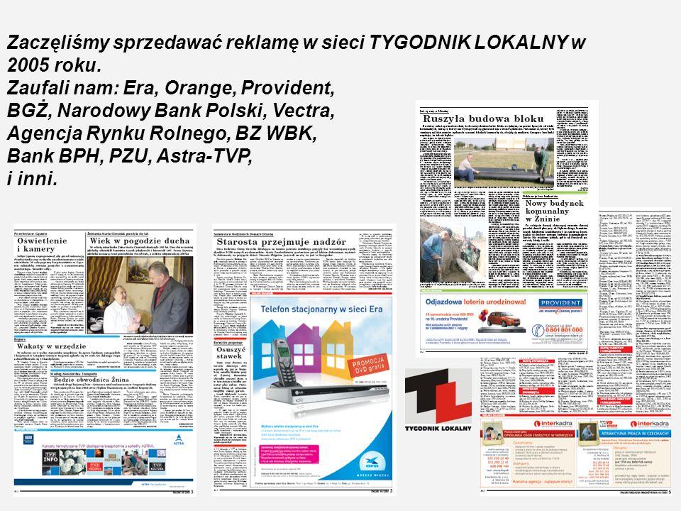 Zaczęliśmy sprzedawać reklamę w sieci TYGODNIK LOKALNY w 2005 roku.