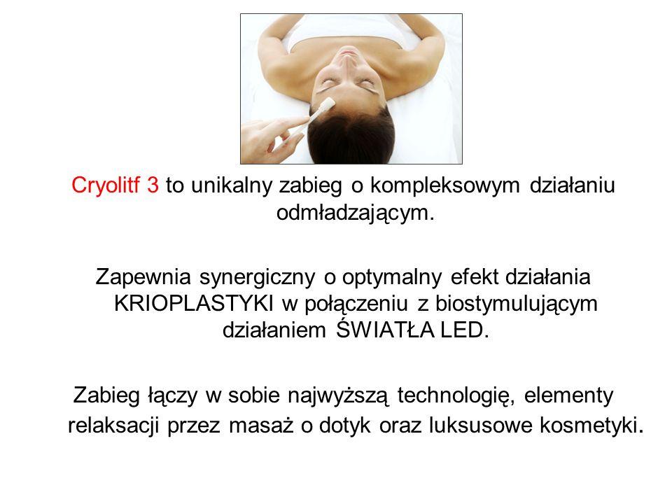Cryolitf 3 to unikalny zabieg o kompleksowym działaniu odmładzającym. Zapewnia synergiczny o optymalny efekt działania KRIOPLASTYKI w połączeniu z bio