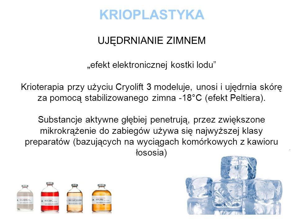 KRIOPLASTYKA UJĘDRNIANIE ZIMNEM efekt elektronicznej kostki lodu Krioterapia przy użyciu Cryolift 3 modeluje, unosi i ujędrnia skórę za pomocą stabili
