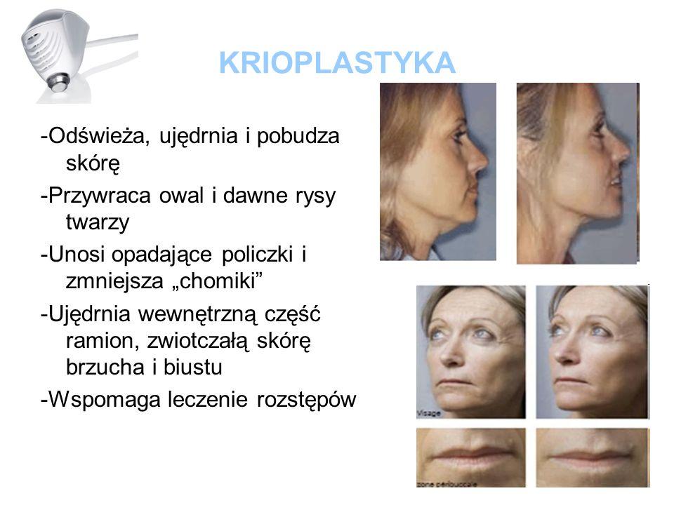 KRIOPLASTYKA -Odświeża, ujędrnia i pobudza skórę -Przywraca owal i dawne rysy twarzy -Unosi opadające policzki i zmniejsza chomiki -Ujędrnia wewnętrzn