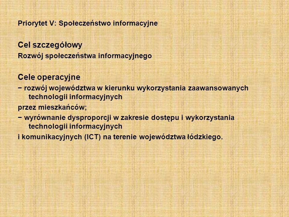 Priorytet V: Społeczeństwo informacyjne Cel szczegółowy Rozwój społeczeństwa informacyjnego Cele operacyjne rozwój województwa w kierunku wykorzystani
