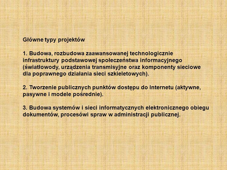 Główne typy projektów 1. Budowa, rozbudowa zaawansowanej technologicznie infrastruktury podstawowej społeczeństwa informacyjnego (światłowody, urządze