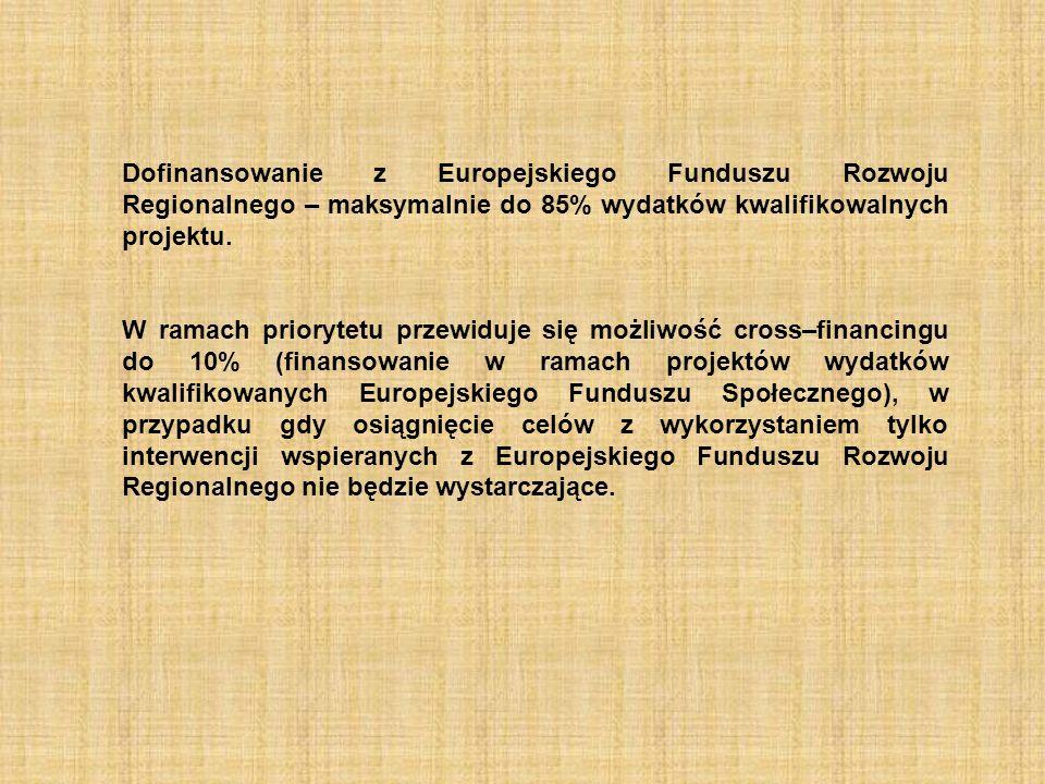 Dofinansowanie z Europejskiego Funduszu Rozwoju Regionalnego – maksymalnie do 85% wydatków kwalifikowalnych projektu. W ramach priorytetu przewiduje s