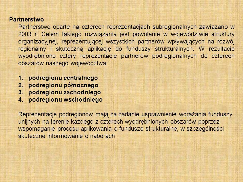 Partnerstwo Partnerstwo oparte na czterech reprezentacjach subregionalnych zawiązano w 2003 r. Celem takiego rozwiązania jest powołanie w województwie