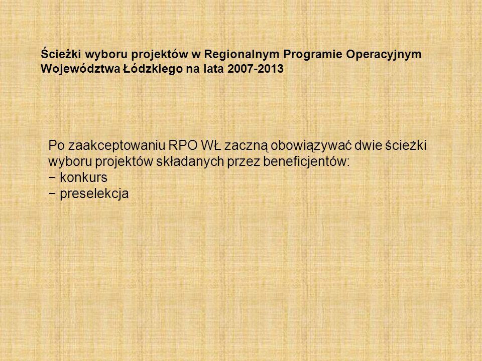 Ścieżki wyboru projektów w Regionalnym Programie Operacyjnym Województwa Łódzkiego na lata 2007-2013 Po zaakceptowaniu RPO WŁ zaczną obowiązywać dwie