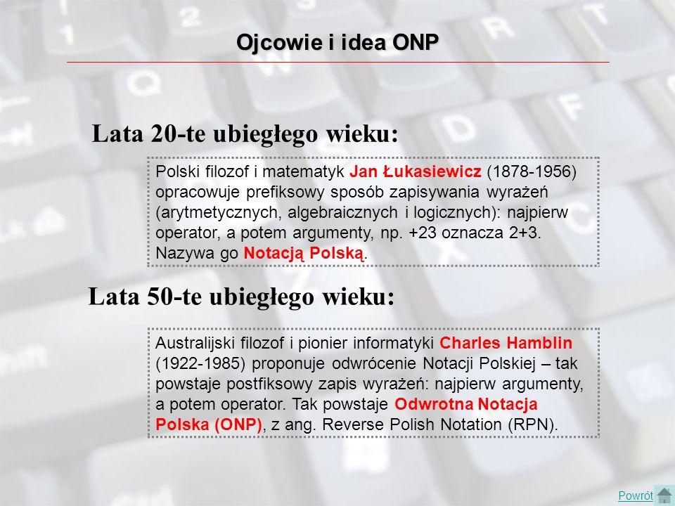 Ojcowie i idea ONP Powrót Lata 20-te ubiegłego wieku: Polski filozof i matematyk Jan Łukasiewicz (1878-1956) opracowuje prefiksowy sposób zapisywania