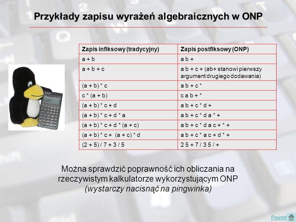 Pojęcia użyte w prezentacji ONP - Odwrotna Notacja Polska RPN - Reverse Polish Notation postać infiksowa - tradycyjny zapis wyrażeń postać prefiksowa - zapis wyrażenia w Notacji Polskiej (najpierw operator, potem argumenty) postać postfiksowa - zapis wyrażenia w Odwrotnej Notacji Polskiej (najpierw argumenty, potem operator) stos - bufor, który rządzi się zasadą LIFO (Last In First Out), czyli ostatni przyszedł, pierwszy wychodzi.