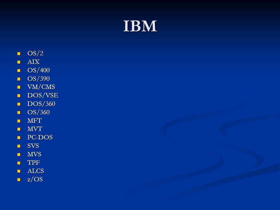 IBM OS/2 OS/2 AIX AIX OS/400 OS/400 OS/390 OS/390 VM/CMS VM/CMS DOS/VSE DOS/VSE DOS/360 DOS/360 OS/360 OS/360 MFT MFT MVT MVT PC-DOS PC-DOS SVS SVS MV